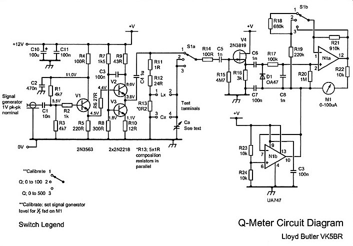 An experimental q meter figure 2 q meter circuit diagram test terminals 1 4 are to connect lx and cx r13 02 is five 1 composition resistors in parallel ccuart Images