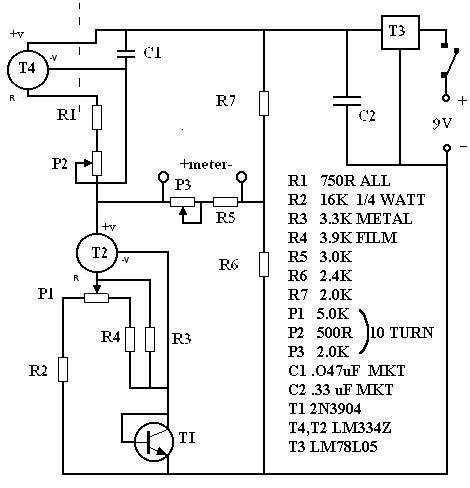 electronic thermometer circuit in the circuit above t2 is a fixed current device that sinks approximately 70 micro amps p1 is adjusted so that this current does not vary temperature